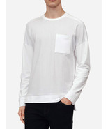 NEW MENS CALVIN KLEIN SLIM FIT WHITE BLOCKED STRIPE SWEATSHIRT T SHIRT S... - $27.71