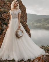 Appliques Bridal Gowns Boho Cap Sleeve A-Line Beach Wedding Gowns Vintage Plus S image 3