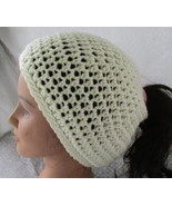 Messy Bun Ponytail Beanie Hat Off White Crochet - $15.95