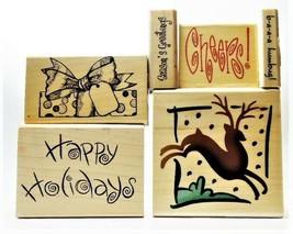 NEW STAMPS! Set of 6 Christmas-Themed Rubber Stamps Mounted on Wood