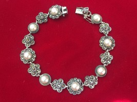 Sterling Silver Marcasite & Faux Pearl Flower Floral Bracelet HAN - $58.00