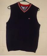 Tommy Hilfiger Blue Sweater Vest Knit Size L Cotton Vertical Pattern Boys - $18.86
