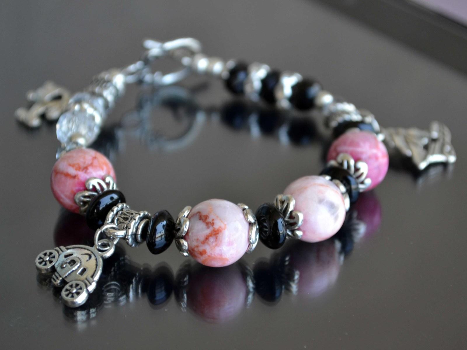 Bracelet, Gemstone bracelet, Statement bracelet, pink (B13) image 4