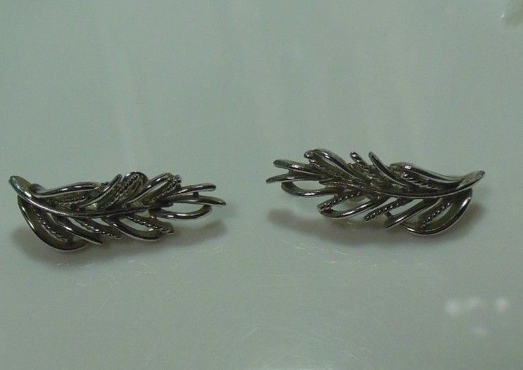 Vintage Coro Silver-tone Leaf Clip-on Earrings