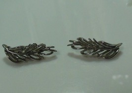 Vintage Coro Silver-tone Leaf Clip-on Earrings - $14.36