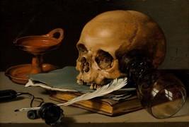 Still Life with Skull 1628 by Pieter Claesz (Dutch) Old Masters 7x10 Print - $19.79