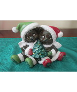 Handcrafted Ceramic Teddy Bears With Christmas Trees - $4.99