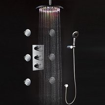 LED Wall Mount Thermostatic Shower Faucet with BodySprays (Chrome Finish) - $742.45