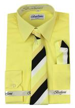 Berlioni Italy Kids Boys Long Sleeve With Tie & Hanky Dress Shirt Set Yellow
