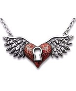 Controse Red Winged Heart Love Keyhole Steel Pendant Necklace Key Hole C... - $26.00