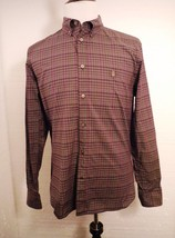 John Varvatos USA Mens Purple & Gray Checks L/S Peace Sign Shirt Men's M... - $37.22