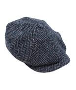 John Hanly Newsboy Cap 100% Wool 8 Piece Navy Herringbone Blinder Hat Ma... - $89.37
