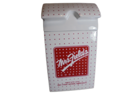 """Mrs. Fields Large Cookie Jar Porcelain red and white polka dots 11"""" x 6""""... - $15.79"""