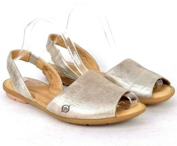 Born Silver Leather Slingback Sandal Flats Shoes Open Toe Slip On Womens Sz 9 M - $14.84