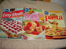 PILLSBURY EASY MEALS EASY PASTA BRUNCHES & DESSERTS COOKBOOKS LOT FREE U... - $9.49