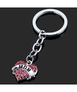 Keychain Pink Crystal Heart Mom Silver Rhinestone - $5.99