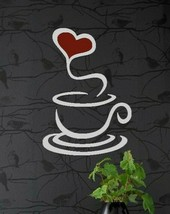 Coffee Cup Heart Wall Quote Sticker Vinyl Decal - $9.99+