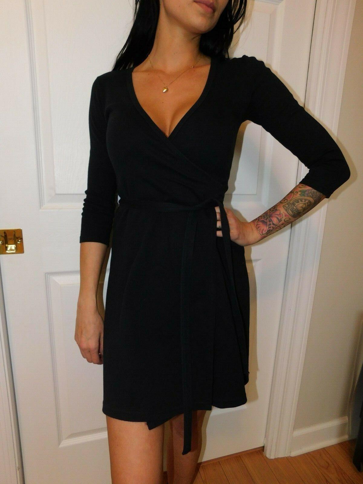 AMERICAN APPAREL Women's Black Wrap Dress Size US XS image 3