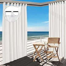 TWOPAGES White Outdoor Curtain Waterproof Tab Top Drape 220 W x 96 L Inc... - $220.31