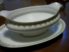 ANtique GDA LImoges Gravy Boat + under plate green Art Deco w gold design - $33.66