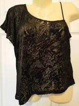 H&M Vintage Large Top Shear Black Floral Burnout One Shoulder Strap One Flutter - $8.86