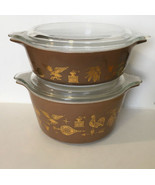 Vtg Pyrex Early American Brown Gold Covered Casserole 1 pt & 1 qt - $23.36