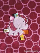 Taggies Purple Circle Elephant Baby Girl Blanket Lovey 30x40 Dots Fleece Soft - $20.90