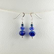Dangle Drop Earrings Handmade Small Blue Glass Bead Sterling Earhooks - $8.00