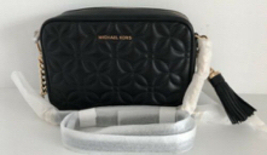 New MICHAEL Kors Floral Quilted Leather Camera Chain Crossbody Bag Black... - $135.00