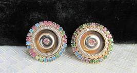 Vintage Multi-Color Pastel Rhinestones Earrings Clips Gold Plate Flying ... - $13.49
