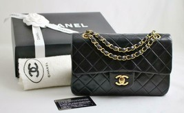 "CHANEL SMALL 9"" Vintage Black LAMBSKIN Leather ""AUTHENTICATED"" Flap Bag ... - $2,900.30"