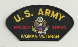 WOMEN ARMY VETERAN PROUDLY SERVED LOGO MILITARY EMBROIDERED  PATCH - $13.53