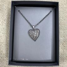 Hallmark Brand Silver Tone Flowering Love Scroll Heart Pendant Necklace ... - $11.84