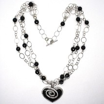 Silver necklace 925, Onyx Black Round, Heart Pendant, Chain three files image 2