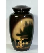 Adult/Large 210 Cubic Inch Moose in Meadow Aluminum Cremation Urn for Ashes - $169.99