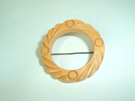 Vintage Bakelite Carved Butterscotch Round Wreath Brooch - $19.75