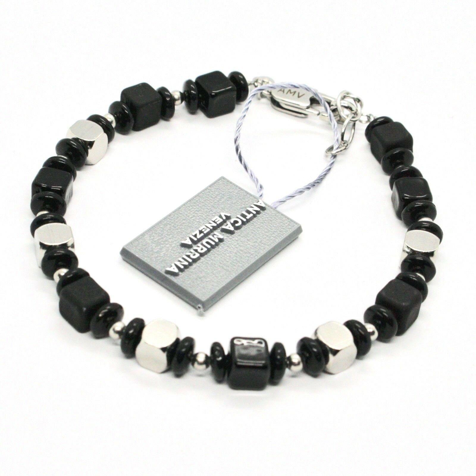 Bracelet Antica Murrina Venezia Man with Murano Glass Black Br806a14