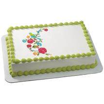 Bird On Blooming Branch Edible Cake Topper Image - $9.99+