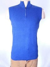 PETER MILLAR CROWN SPORT 1/4 ZIP MOCK NECK SWEATER VEST BLUE SZ S NWT $165 - $71.97