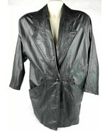 Vintage GIII Black 100% Leather Long Sleeve Single Button Jacket Size Me... - $67.72