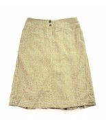 J Crew 100 % Wool Pleated Skirt Womens Beige Houndstooth Vintage 4 S Small - $24.75