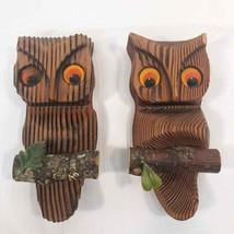2 Vintage Wooden Owls Wall Hanging Orange Felt Eyes 6 inch Mid Century B... - $24.75
