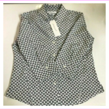 Foxcroft Womens Wrinkle Free Button Closure Printed Blouse XXL/Black Whi... - $39.99