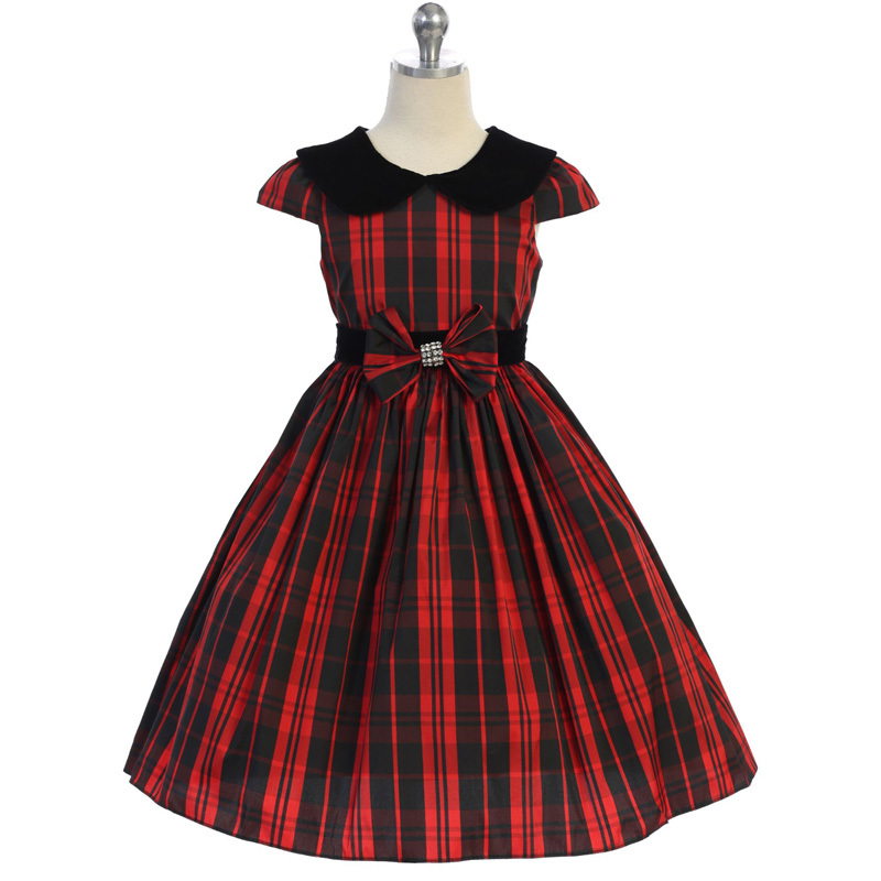 Green Classic Plaid Velvet Collar Waist Trim with A Bow Girl Dress image 2