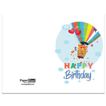 Hot Air Balloon Birthday Card --- with Custom Handwritten Message - mailed to... - $2.23