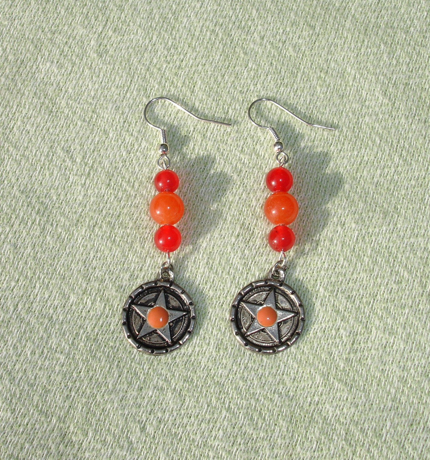 Handmade Red Gemstone and Witch Pentagram Dangle Earrings - Handcrafted Jewelry