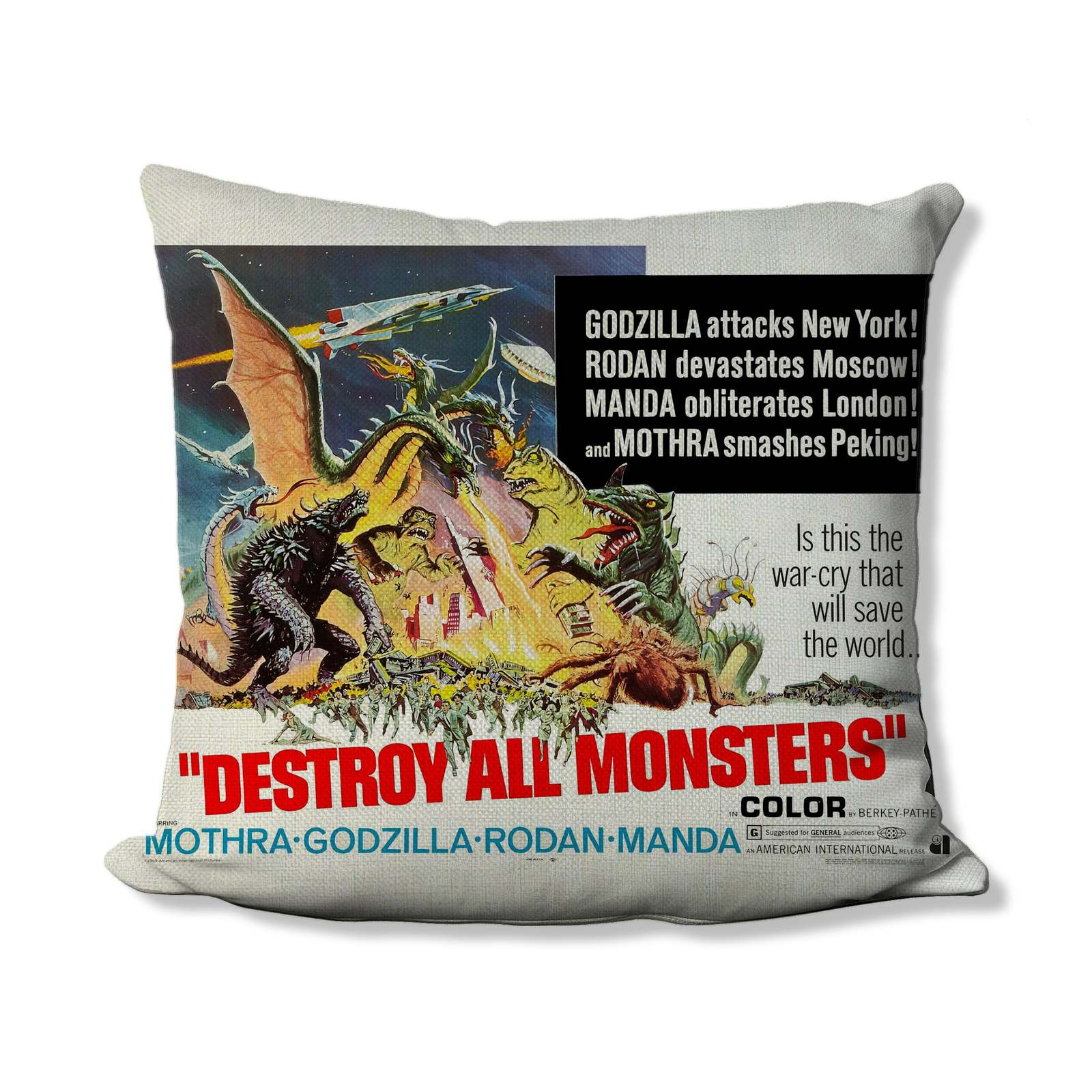 1968 Godzilla Destroy all Monsters Movie Poster Throw Pillow Cover - King Ghidor - $19.99 - $39.99