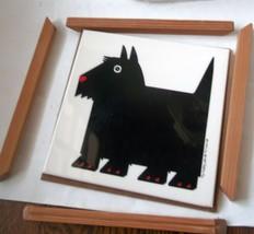 Taylor & Ng Scotty Dog Tile Trivet 1984 Wood Frame Scottish Terrier - $8.79