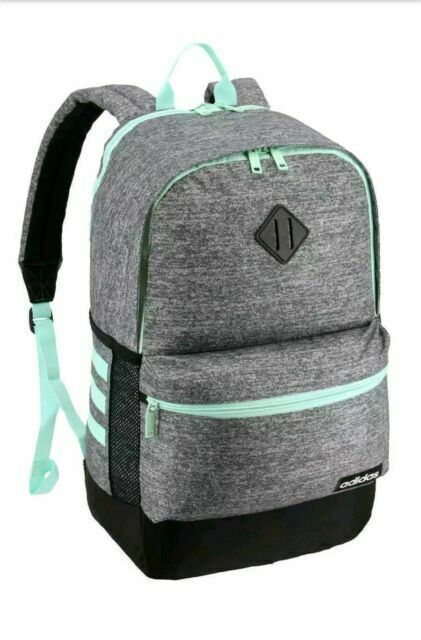 Primary image for Adidas Core Backpack GRAY/GREEN Tricot Lined Dual Water Bottle Pockets - New