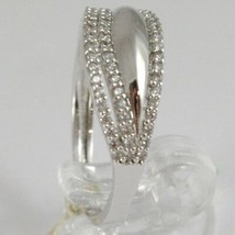 White Gold Ring 750 18k, veretta with Cubic Zirconium, 3 files, Crimped image 2